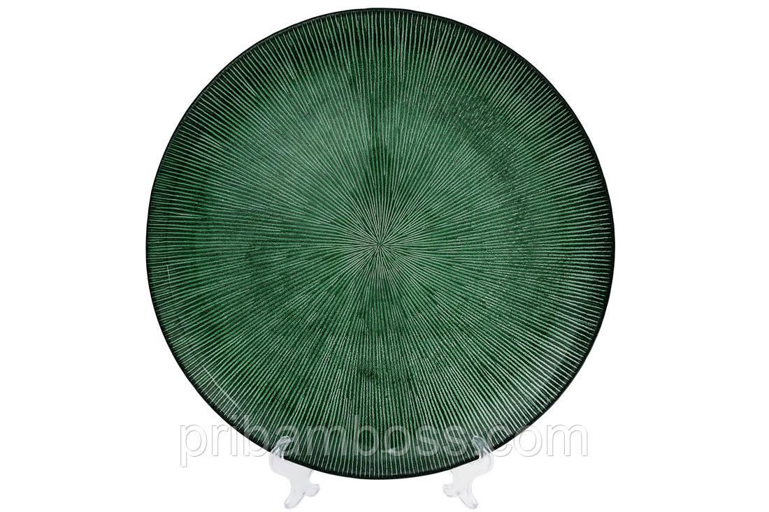 Сервировочная тарелка стеклянная, цвет - изумрудный, 33см