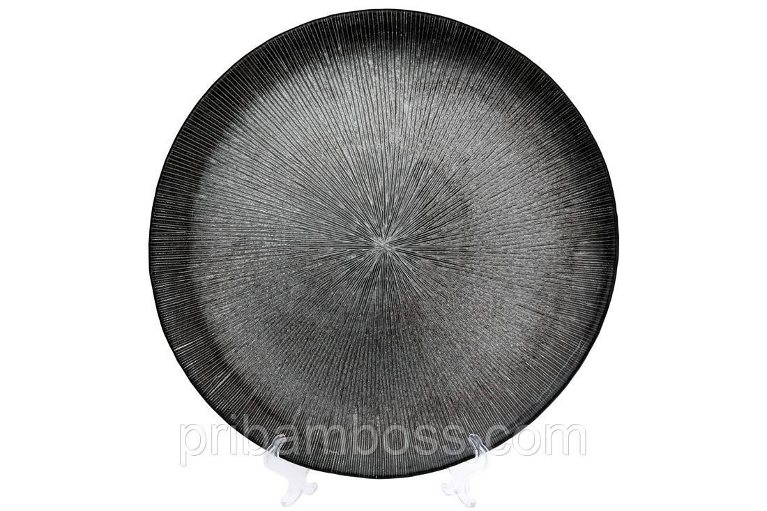 Сервировочная тарелка стеклянная, цвет - серебро, 33см