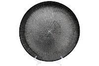 Сервировочная тарелка стеклянная, цвет - серебро, 33см, фото 1