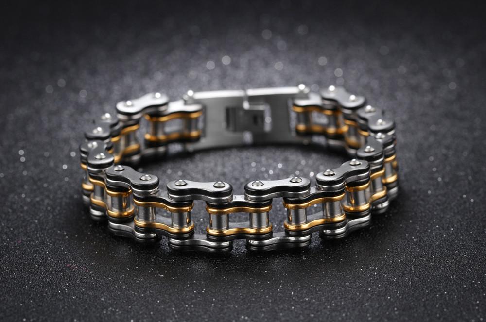 Мужской браслет из нержавеющей стали в виде мотоциклетной цепи, чёрный-золотой