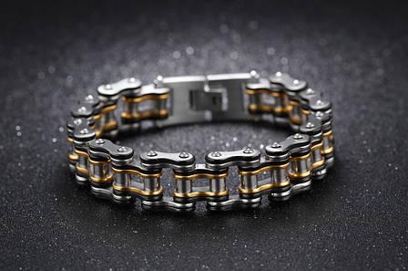 Мужской браслет из нержавеющей стали в виде мотоциклетной цепи, чёрный-золотой, фото 2