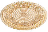 Сервировочная тарелка стеклянная, цвет - прозрачный с золотом, 33см, фото 2