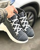 Женские ботинки 3281-1249 MORENTO (серые, натуральная замша, шерсть, зима)