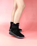 Ботинки сникерсы женские замшевые черные на липучках MORENTO зимние