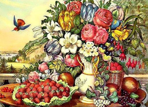"Алмазная вышивка 60х40см - набор ""Фрукты и цветы"""