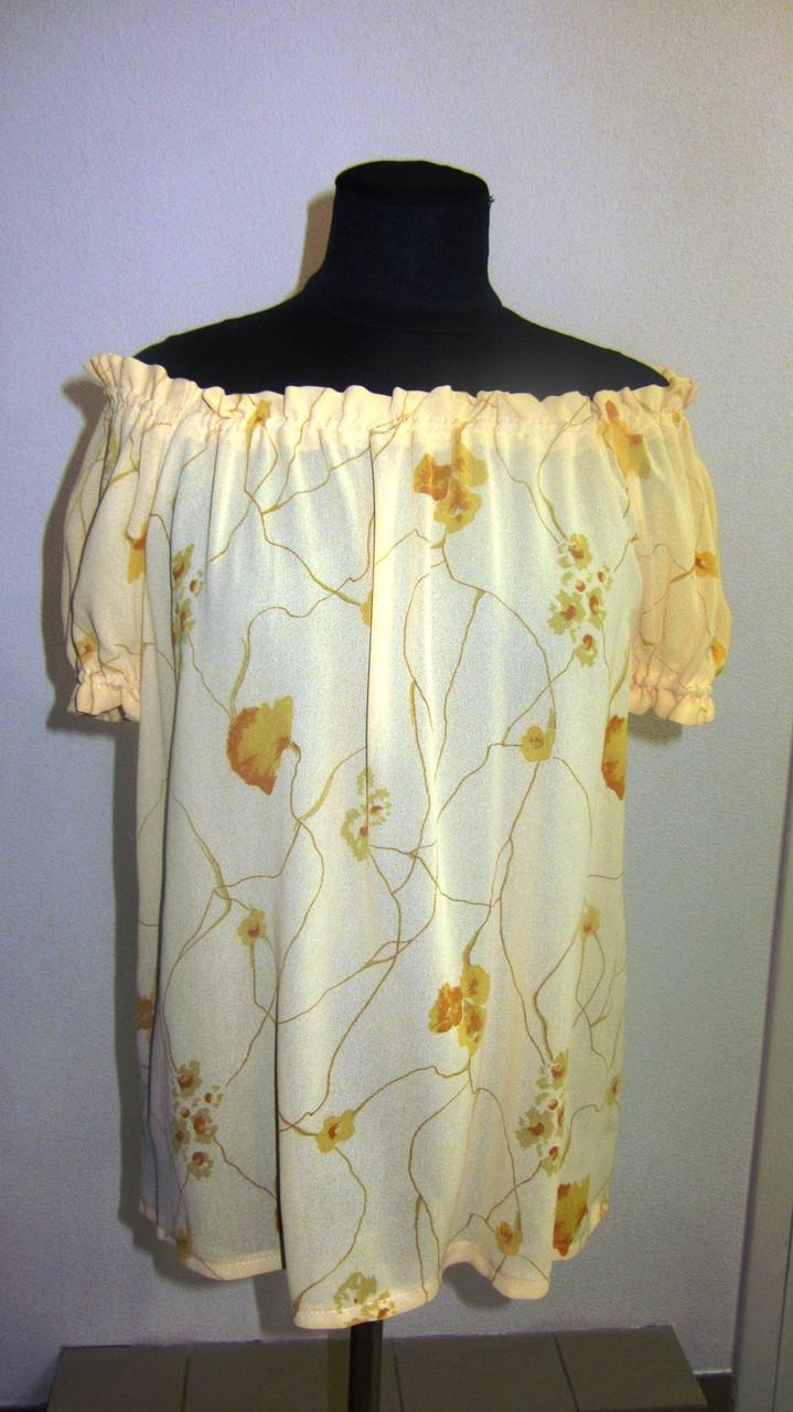 Блуза женская  с цветочным рисунком, 46,48, 50,52, тонкая легкая ,купить , Бл 019-12 лимон.
