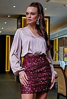 Короткая женская юбка из пайеток нарядная 42-48 размера марсала