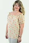 Блуза женская  с цветочным рисунком, 46,48, 50,52, тонкая легкая ,купить , Бл 019-12 лимон., фото 5