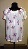 Блуза женская  с цветочным рисунком, 46,48, 50,52, тонкая легкая ,купить , Бл 019-13 сакура.