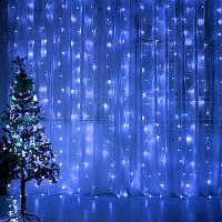 """Штора на медной проволоке """"Капля росы"""" 3х3м, 600 led цвет синий гирлянда на Новый год"""