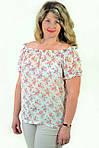 Блуза женская  с цветочным рисунком, 46,48, 50,52, тонкая легкая ,купить , Бл 019-13 сакура., фото 2