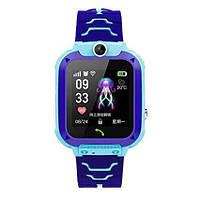 Детские умные часы Smart Baby Watch q12 Blue GPS LBS AGPS IP68 камера, фото 2