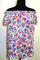 Блуза женская  с цветочным рисунком, 46,48, 50,52, тонкая легкая ,купить , Бл 019-15 штапель вискоза хлопок.