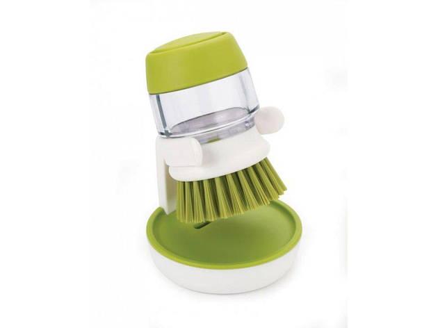 Щетка для мытья посуды с диспенсером под моющее средство soap brush, фото 2