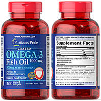 Puritan's Pride, Рыбий жир, Жирные кислоты Омега-3, Fish Oil, Omega-3, 1000 мг, 200 капсул
