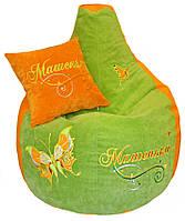 Бескаркасное кресло-пуф груша  с вышивкой мягкая мебель