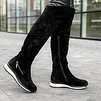 Cапоги ботфорты женские без каблука зимние замшевые черные (Код: М1611)