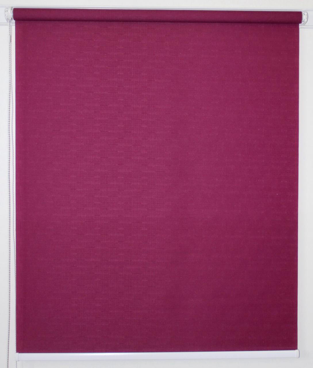 Рулонная штора 950*1500 Ткань Лён 7446 Пурпурно-красный