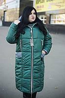 Стильное зимнее женское пальто с молниями по бокам  цвета  изумруд с 48 по 82 размер