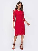Вечернее Нарядное платье красное прямого кроя из ажурного кружева 46 48 50 52 54
