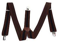 Подтяжки для брюк ширина 3,5 см, коричневые