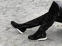 Cапоги ботфорты женские без каблука зимние замшевые черные (Код: М1611а)