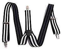 Подтяжки для брюк ширина 3,5 см, в полоску черно-белые