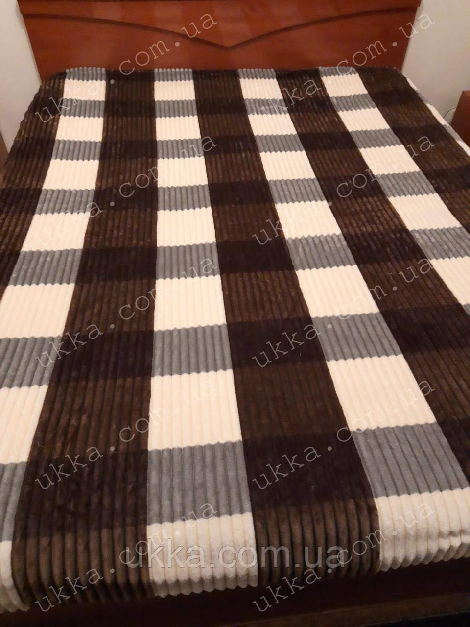 Покрывало плед Шарпей плюшевое 200х230 коричнево-серый