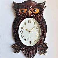 """Настенные часы (50х30 см) """"Сова"""" большие в гостиную Шоколад [Пластик] Time"""
