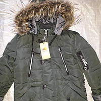 Зимняя куртка (парка) на мальчика. Р. 26-36. Цвет Темно зеленый