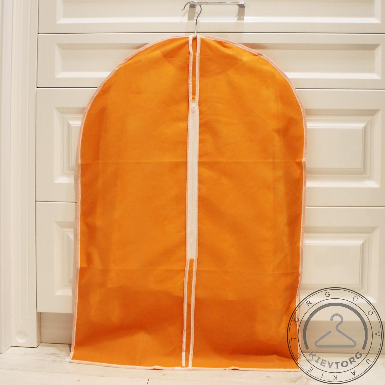 Чехол для упаковки и хранения одежды на молнии тканевый оранжевый, 60х90 см