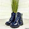 """Ботинки детские синие на шнурках """"Werex"""" эко кожа деми, фото 2"""