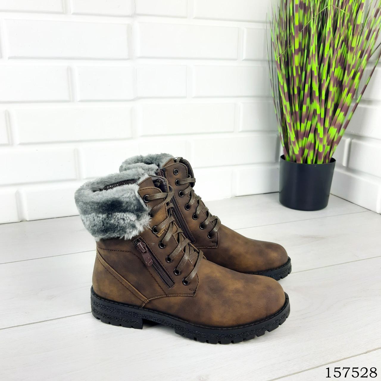 """Ботинки подростковые зимние коричневые на шнурках """"Jone"""" эко нубук"""