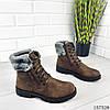 """Ботинки подростковые зимние коричневые на шнурках """"Jone"""" эко нубук, фото 2"""