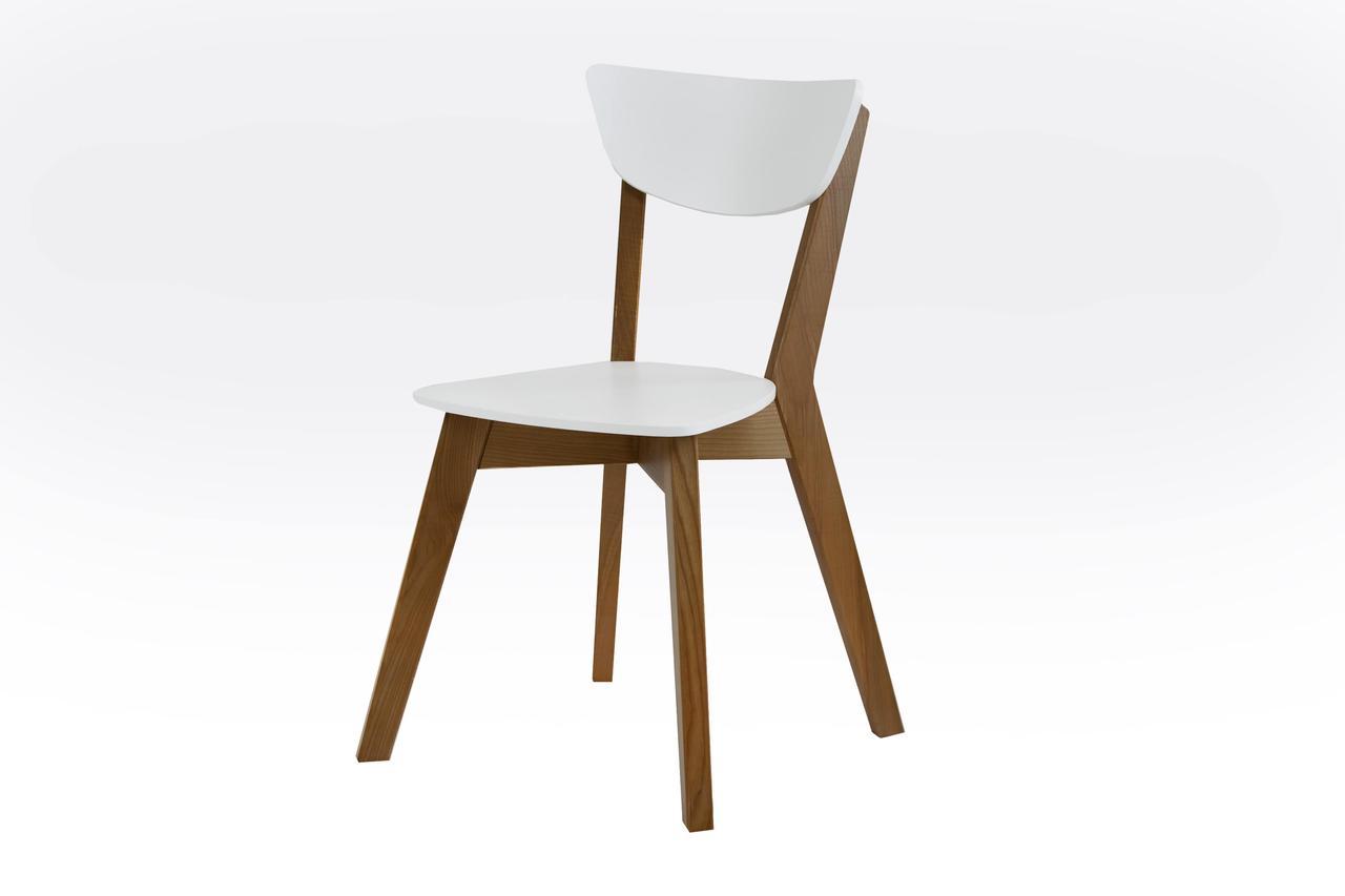 Стул Рондо (каркас орех + спинка и сиденье белые)