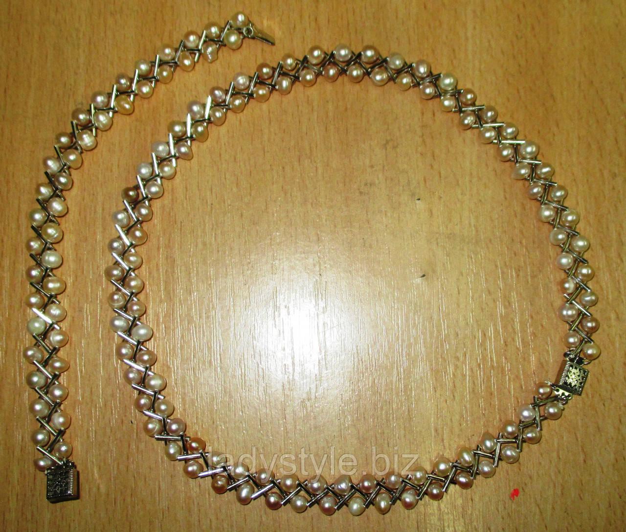 Набор колье и браслет с натуральным  жемчугом