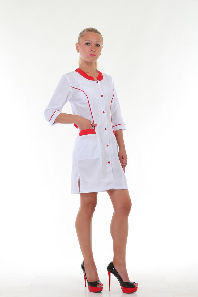 картинка медицинский женский халат на красных кнопках