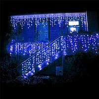 Синяя Гирлянда Бахрома на белом проводе 3 x 0,7 м 120 LED синий цвет, переходник