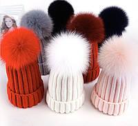 Зимняя шапка с помпоном из меха лисы