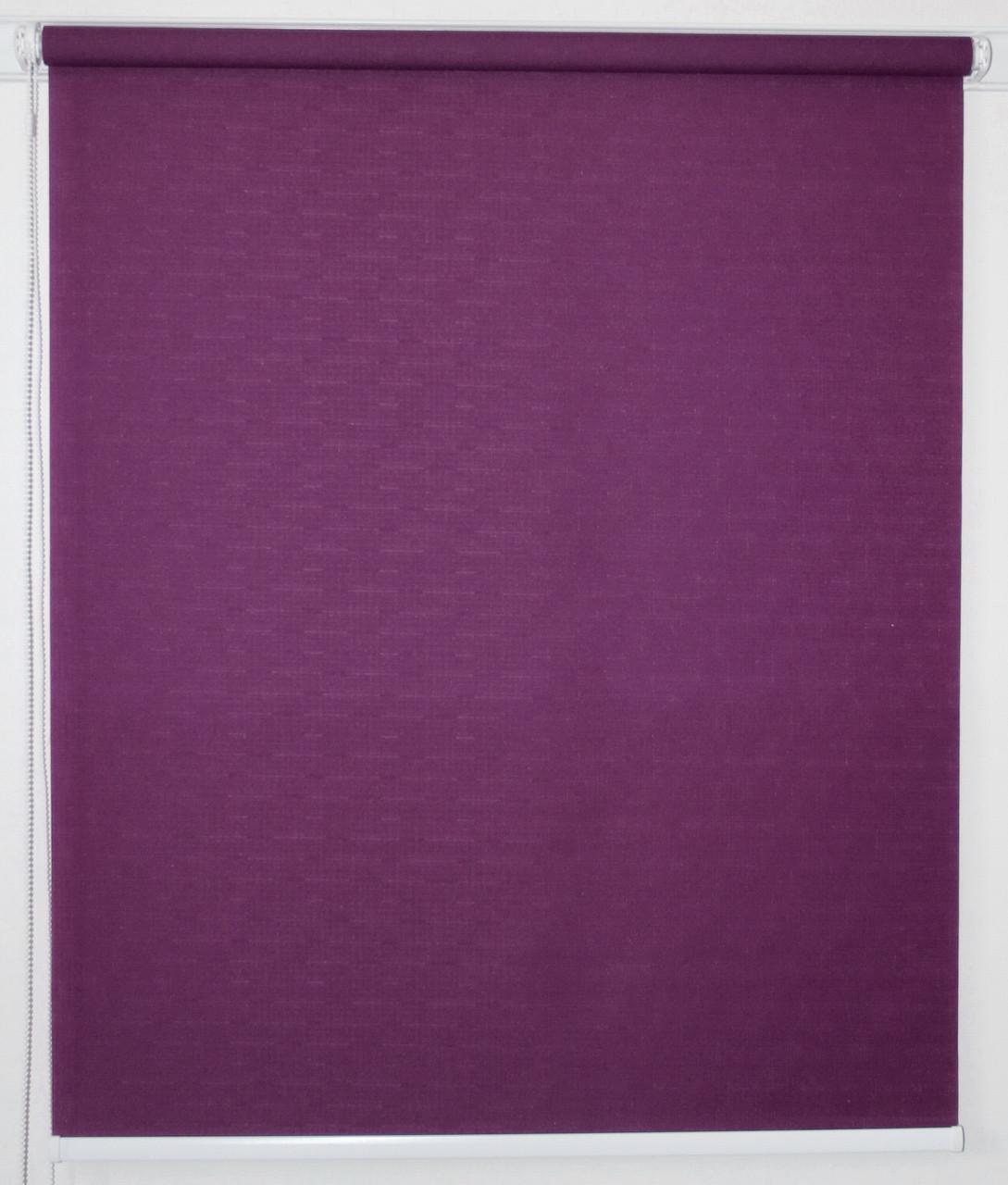 Рулонная штора 1400*1500 Ткань Лён 613 Фиолетовый