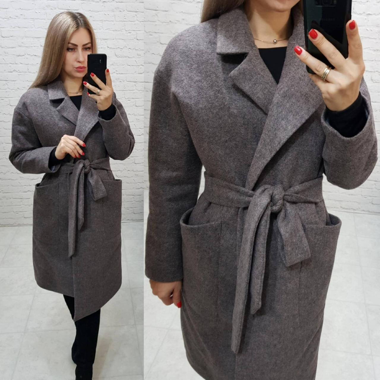 Утеплённое кашемировое пальто на запах с карманами,арт 175, цвет тёмно серый с розовым (6)