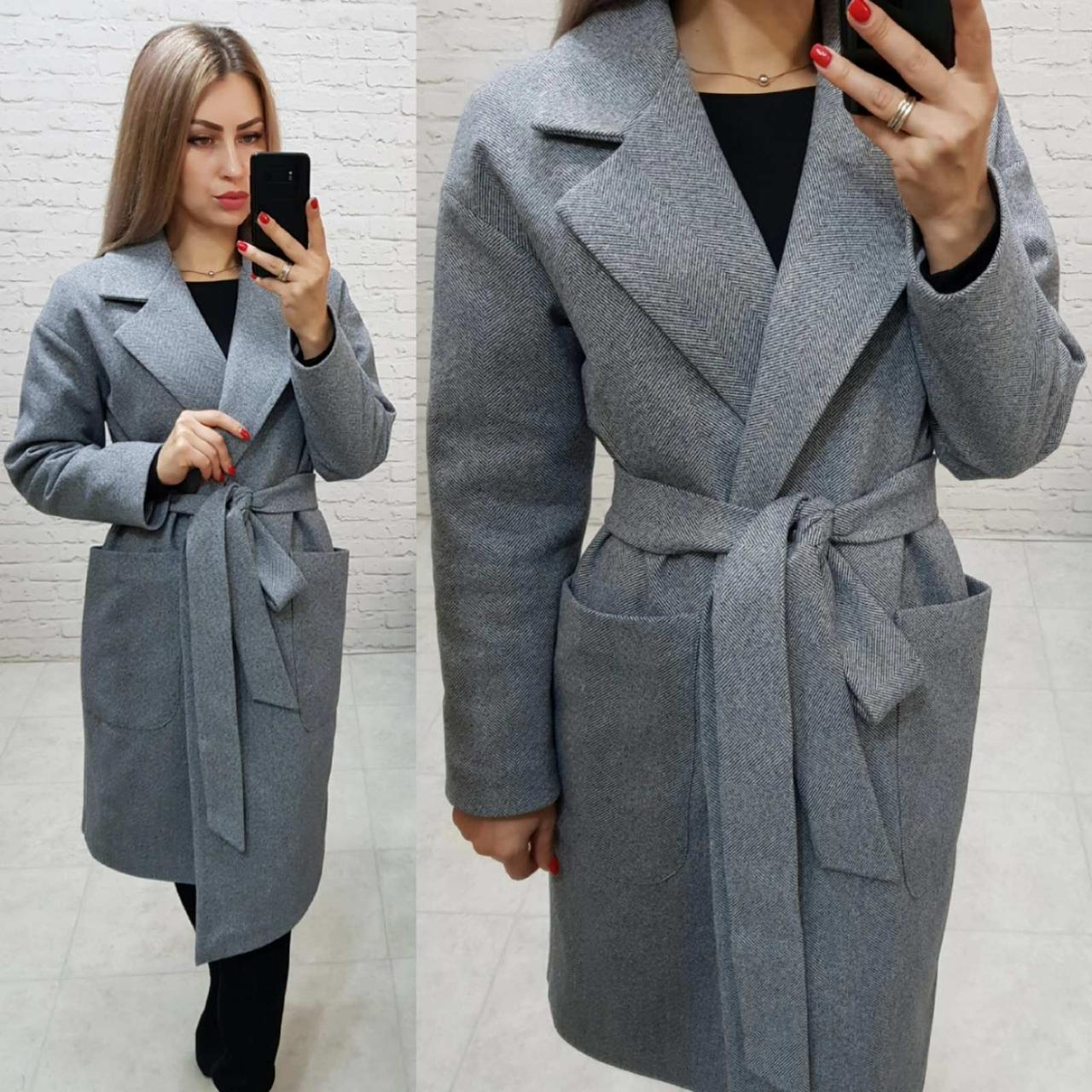 Кашемірове пальто утеплене на запах з кишенями,арт 175, колір світло сірий (1)