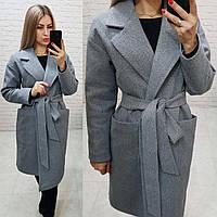 Кашемірове пальто утеплене на запах з кишенями,арт 175, колір світло сірий (1), фото 1