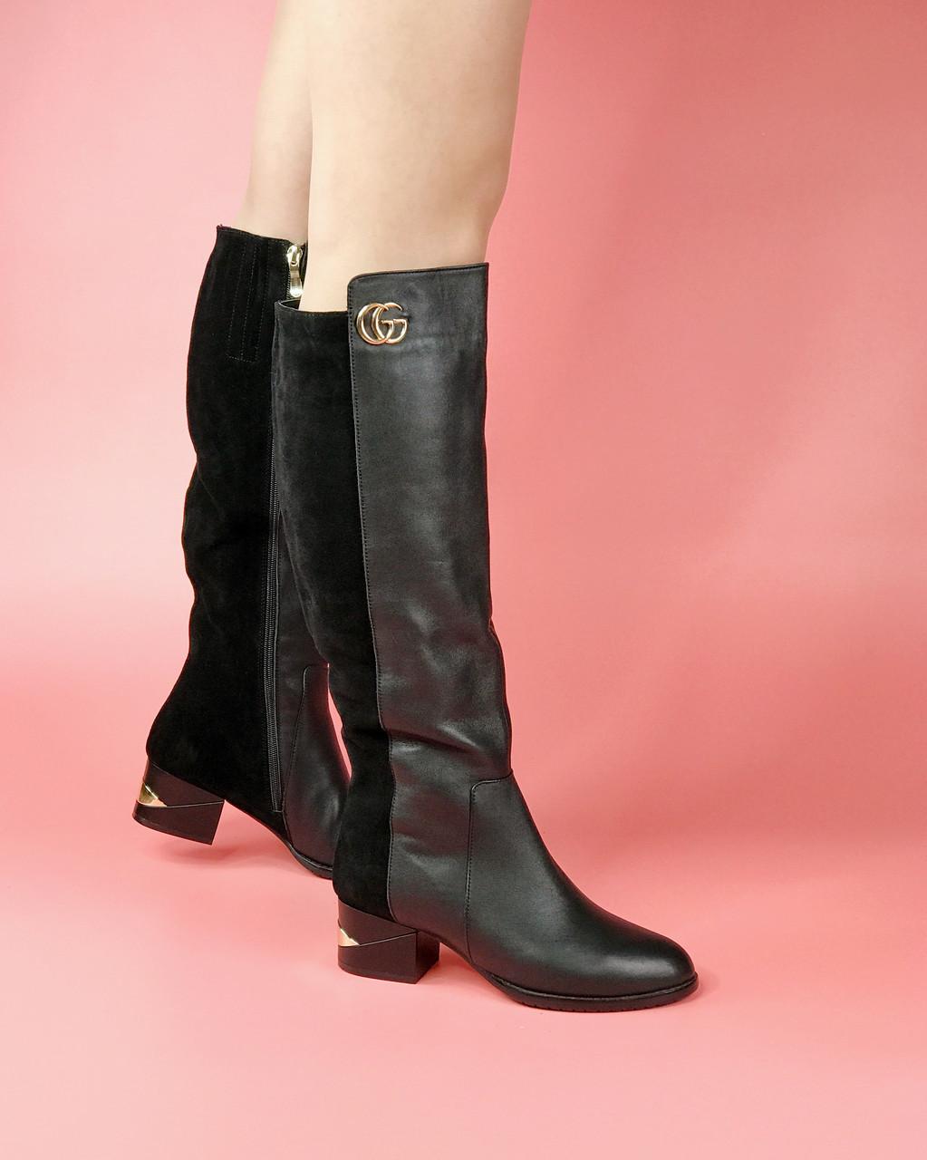 Сапоги женские кожаные черные с замшевыми вставками на широкую голень MORENTO зимние