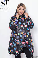 Демисезонная женская куртка трапецевидного кроя на силиконе