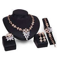 Комплект бижутерии с белыми камнями ожерелье, серьги, браслет и кольцо код 1726