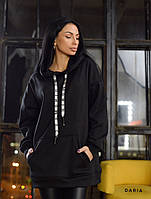 Черное женское худи на флисе  Daria