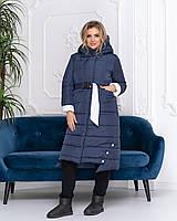 Зимова приталені куртка пуховик з поясом, артикул 032, колір синій, фото 1
