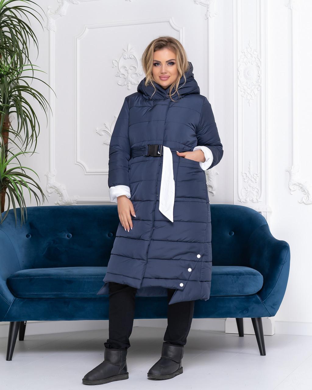 Зимова приталені куртка пуховик з поясом, артикул 032, колір синій