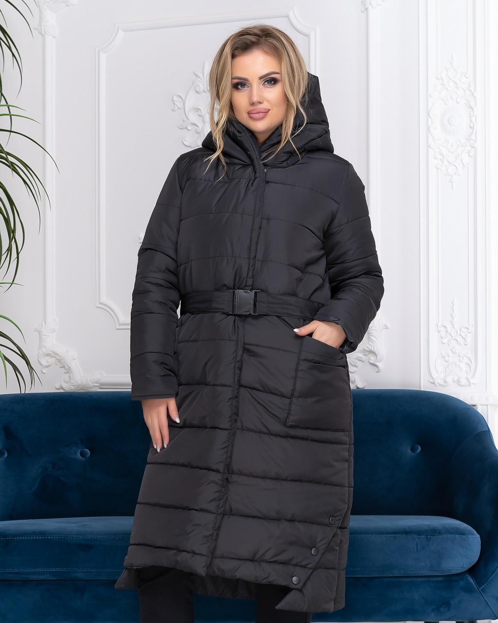 Пальто зимове з поясом, артикул 032, колір чорний